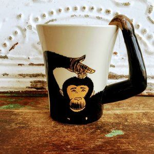 Pier One Imports Hand Painted Monkey Coffee Cup